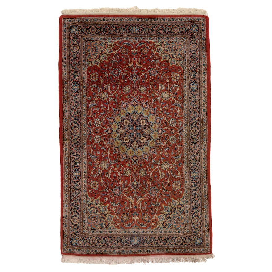 4'5 x 7'2 Hand-Knotted Persian Sarouk Wool Area Rug