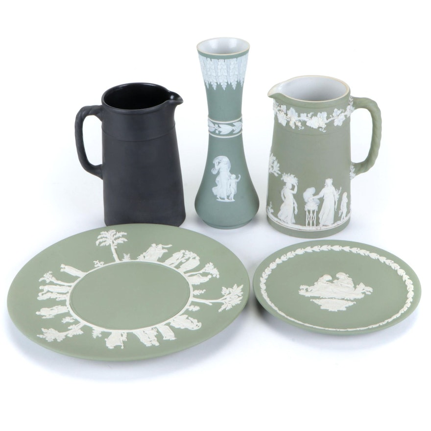 Wedgwood Jasperware Dinnerware, Pitchers, and Vase Including Mother's Day Plate