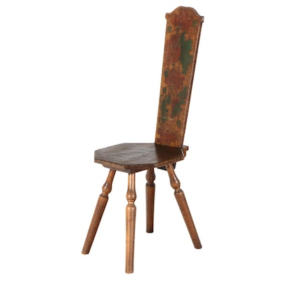 Pyrography Side Chair with Octagonal Seat
