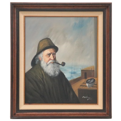 Nancy Lee Pelbum Oil Portrait of Fisherman, Late 20th Century