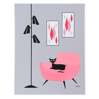 "Donna Mibus Giclée ""Mid Century Modern Cat in Pink and Gray,"" 21st Century"