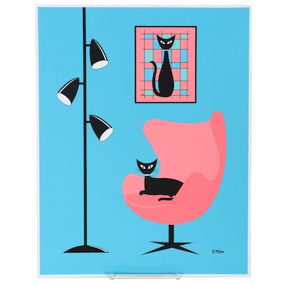 "Donna Mibus Giclée ""Mid Century Mondrian Cat in Pink and Blue,"" 21st Century"