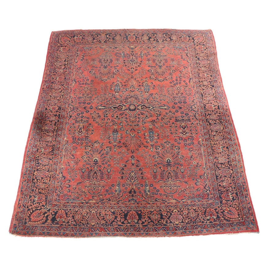 9'2 x 11'9 Hand-Knotted Persian Sarouk Wool Room Sized Rug
