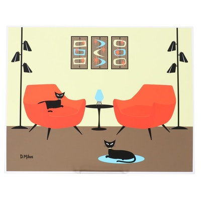 "Donna Mibus Giclée ""Mid Century Room Two Orange Chairs with Black Cats"""
