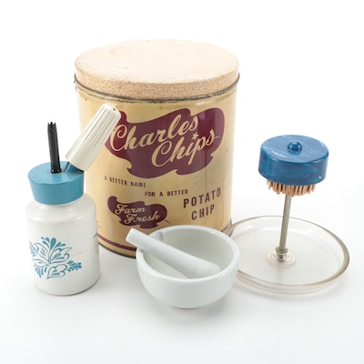 Cream King Whipper with Charles Chips Tin, Match Pull and Mortar and Pestle