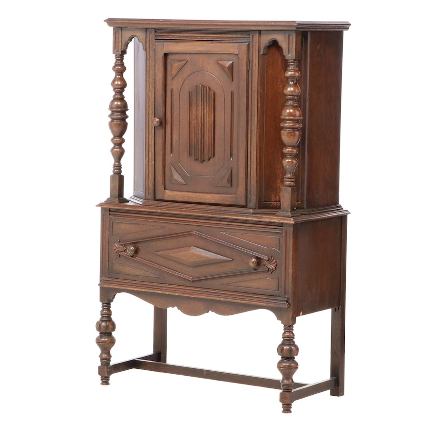 Jacobean Style Carved Oak China Cabinet, circa 1930