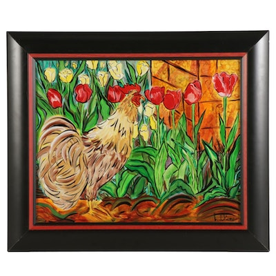 "Eric Lubkeman Acrylic Painting ""Cock and Tulips"""