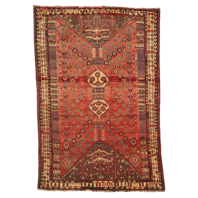 5'1 x 7'8 Hand-Knotted Persian Qashqai Wool Area Rug