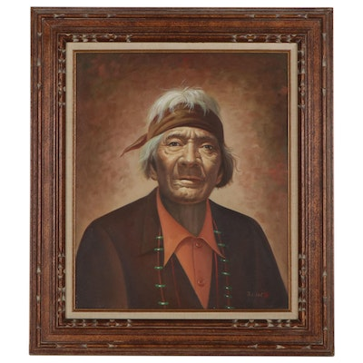 Oil Portrait of Native American Elder, Late 20th Century