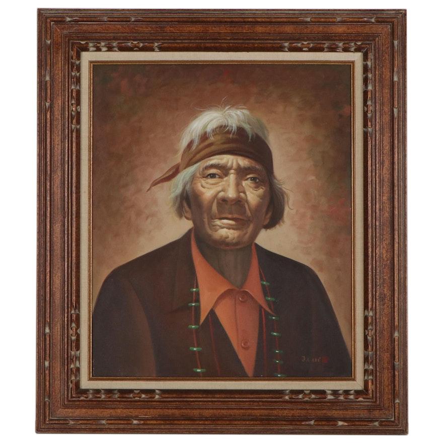 Oil Portrait of Native American Elder, Late 20th Century