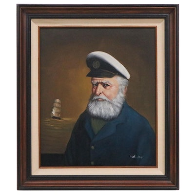 J. Fuller Baillie Oil Portrait of Sea Captain, Late 20th Century