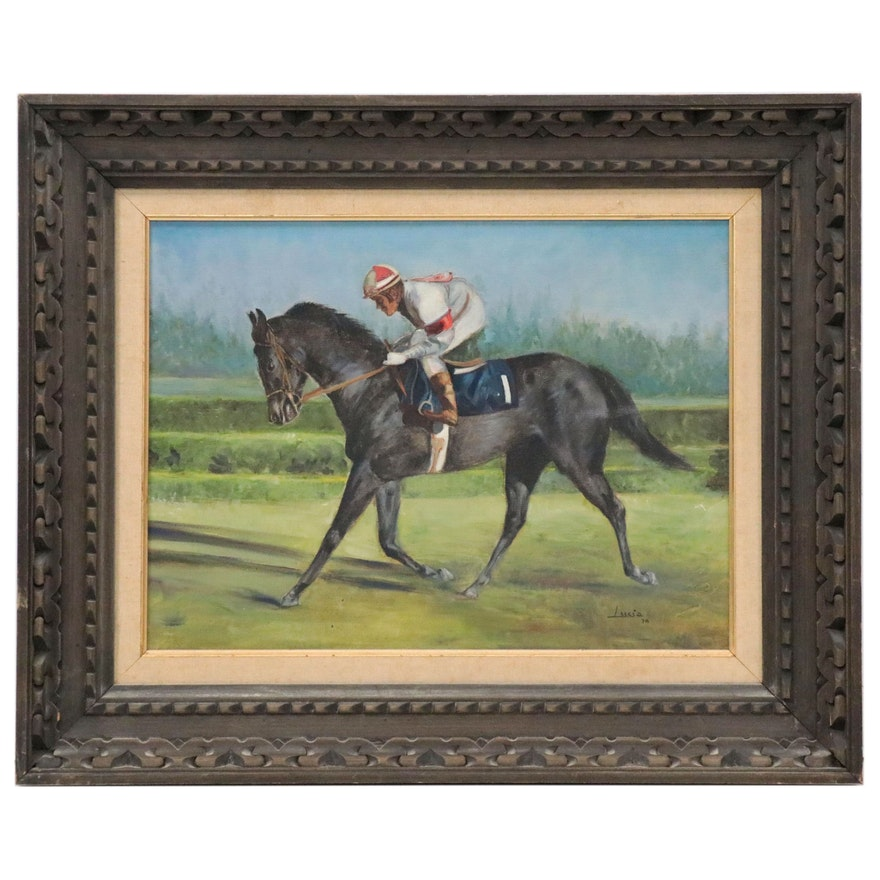 Equine Oil Painting of Racehorse and Jockey, 1970