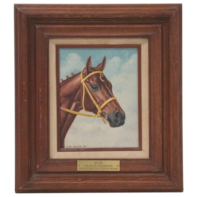 """Charles Manley Tyler Equine Portrait """"Eillo,"""" 1985"""