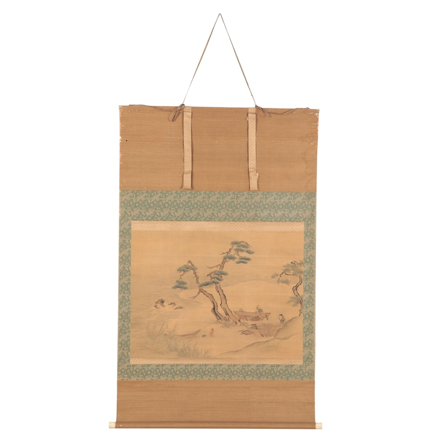 Japanese Watercolor Painting on Hanging Scroll