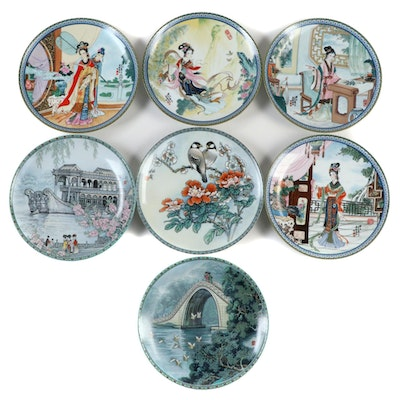 "Imperial Jingdezhen Porcelain Plates Including ""The Beauties of the Red Mansion"""