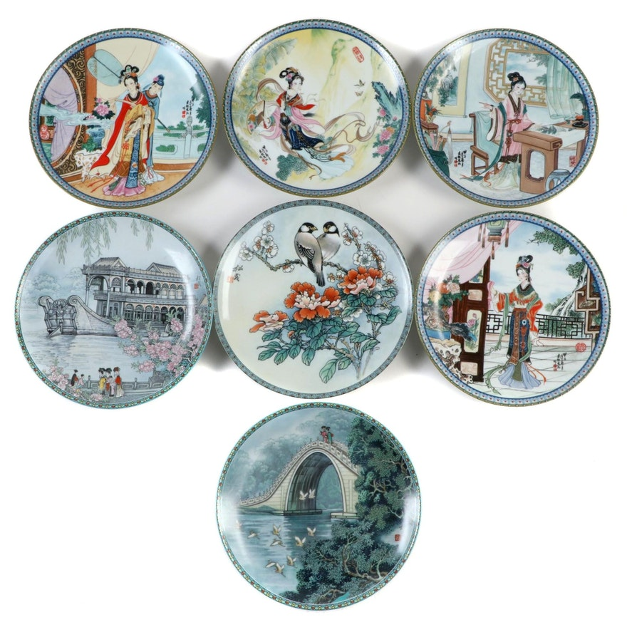 """Imperial Jingdezhen Porcelain Plates Including """"The Beauties of the Red Mansion"""""""