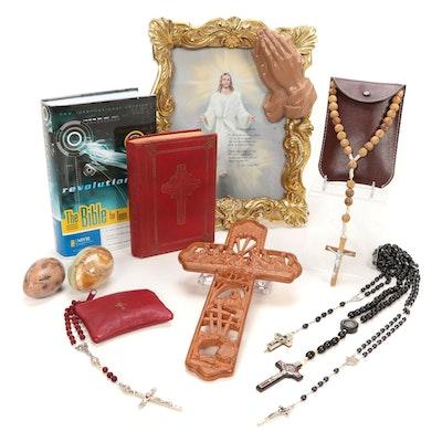 Roman Catholic Rosary Beads, Bibles, and Home Decor