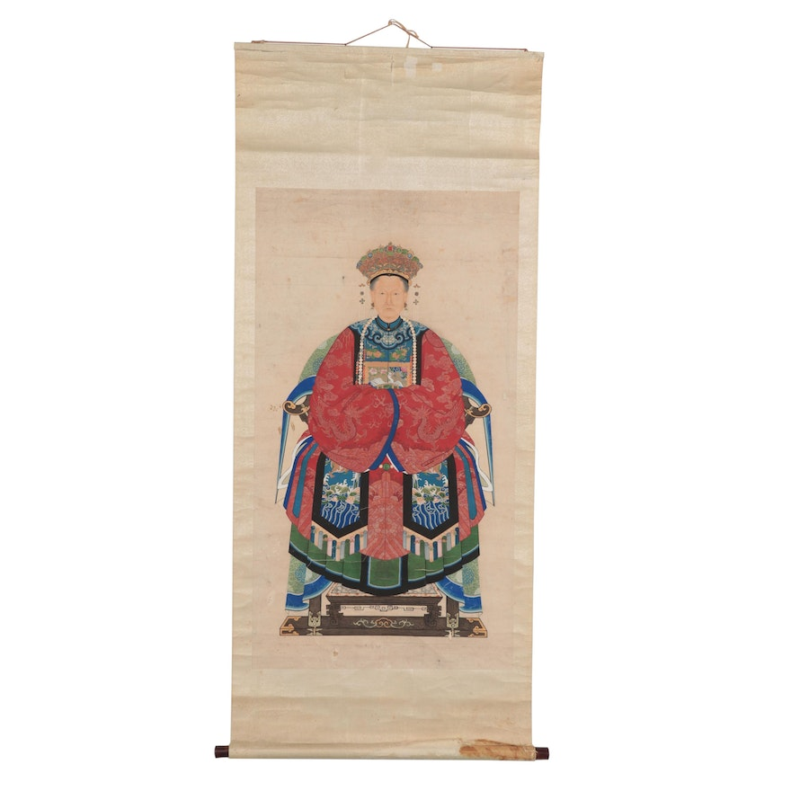Chinese Ancestral Portrait Gouache Painting on Hanging Scroll