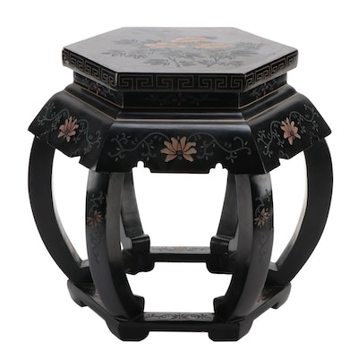 Chinese Coromandel Lacquer Wood Garden Stool with Carved Floral Motif