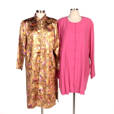 Richilene New York Gold Brocade Jacket with Real Clothes Fuchsia Silk Jacket