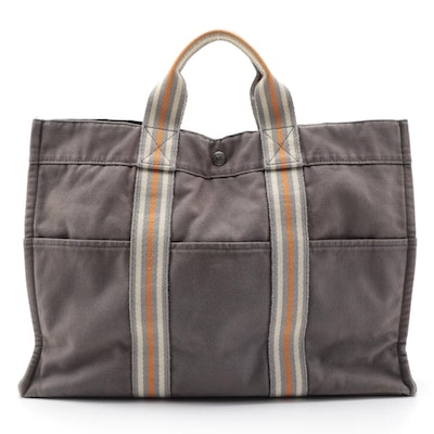 Hermès Fourre Tout Ginza 2001 Tote Bag in Gray/Orange Cotton Canvas