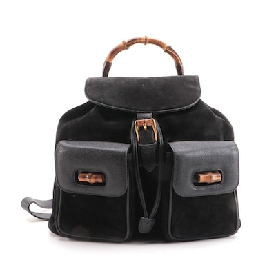 Gucci Large Drawstring Backpack in Black Suede with Bamboo Handle and Hardware