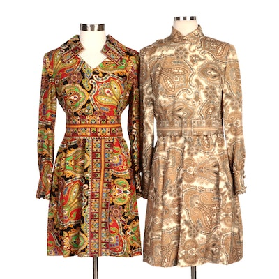 Brenner Couture Paisley Print Day Dresses with Belts