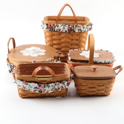 Longaberger Handwoven Maple Lidded Work Baskets, Wall Pockets, andRecipe Basket