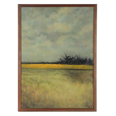 "Florence Sanko Hirsch Tonalist Style Landscape Oil Painting ""Storm Gathering"""