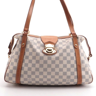 Louis Vuitton Stresa GM Bag in Damier Azur Canvas and Vachetta Leather