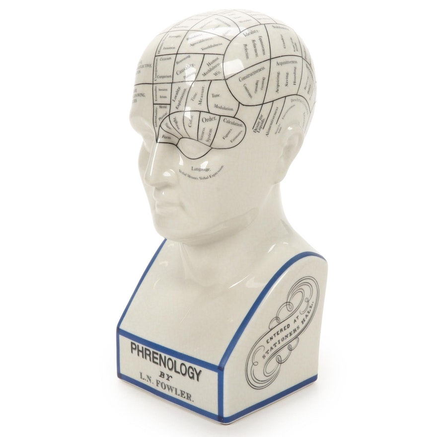 After L. N. Fowler Crackle Glaze Ceramic Phrenology Bust