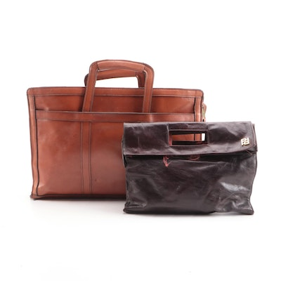 Pappagallo Burgundy Handbag with Other Brown Briefcase