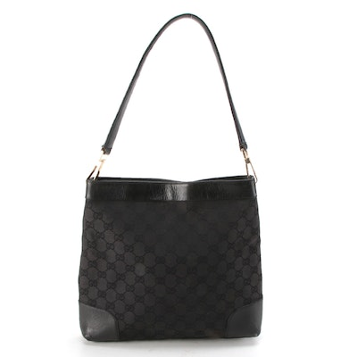 Gucci Shoulder Bag in Black GG Canvas with Leather Trim