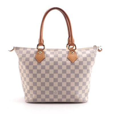 Louis Vuitton Saleya Handbag in Damier Azur Canvas and Vachetta Leather