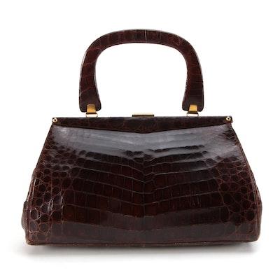 Argentinian Caiman Art Brown Caiman Skin Top Handle Handbag