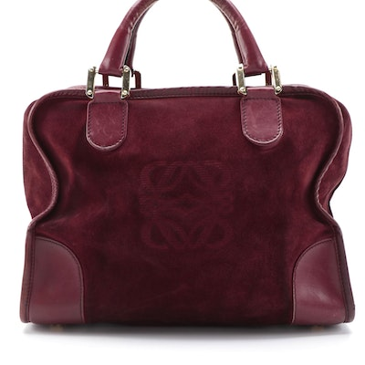 Loewe Amazona Burgundy Suede and Leather Handbag