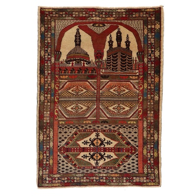 3'2 x 4'6 Hand-Knotted Afghan Baluch Prayer Rug