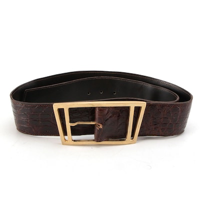 Argentinian Caiman Skin Belt with Gold-Tone Buckle