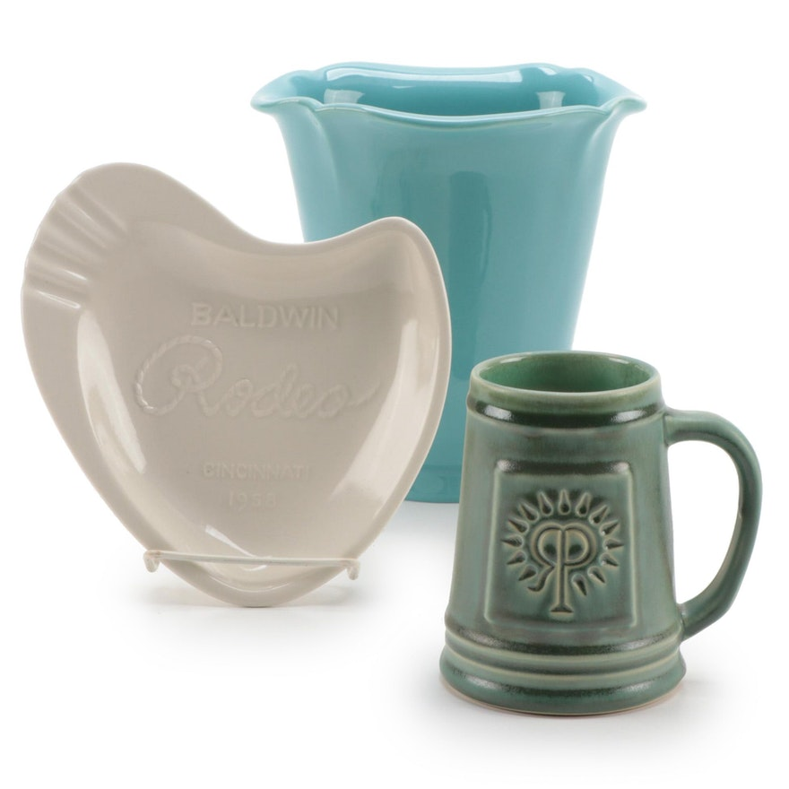 Rookwood Floriform Vase with Rookwood Logo Stein and Rookwood Ash Tray
