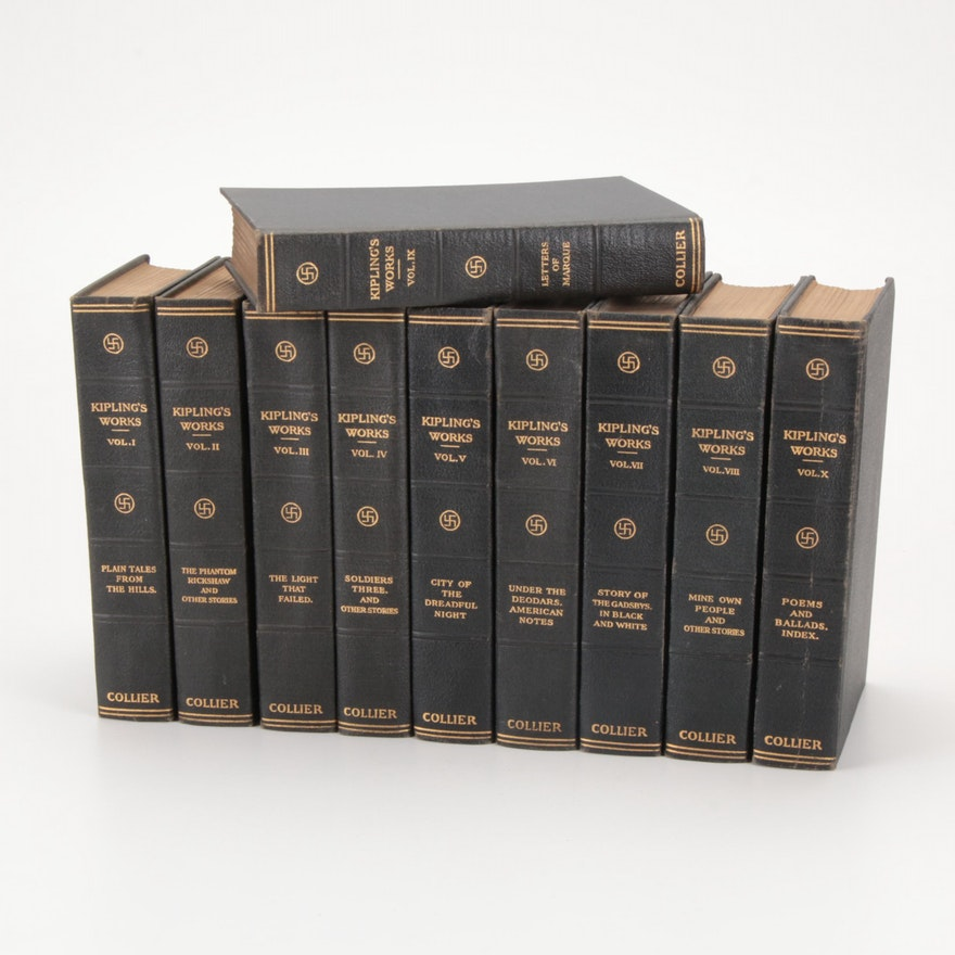 """Kipling's Works"" Sahib Edition Complete Ten-Volume Set, c. 1915"