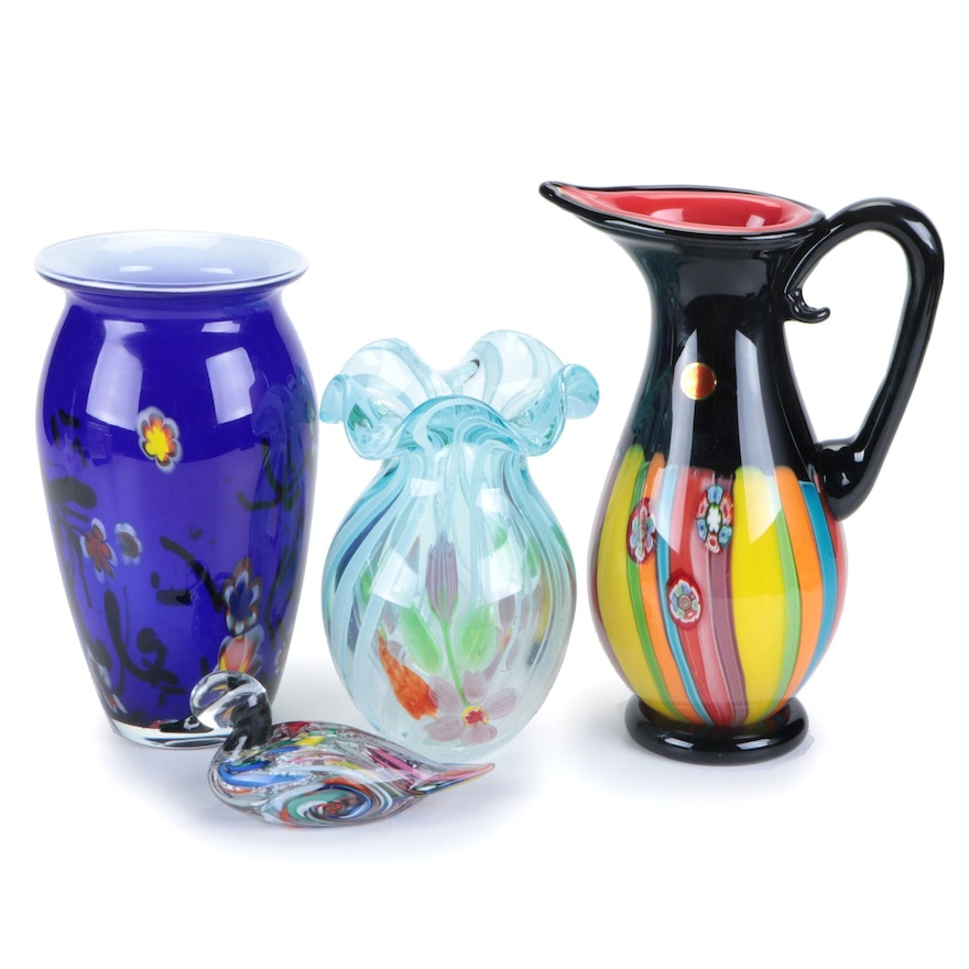 Italian Handblown Art Glass Pitcher with Other Art Glass Vases and Figurine