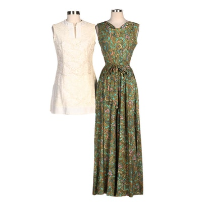 Saks Fifth Avenue Paisley Sleeveless Jumpsuit with Other White Lace Shift Dress