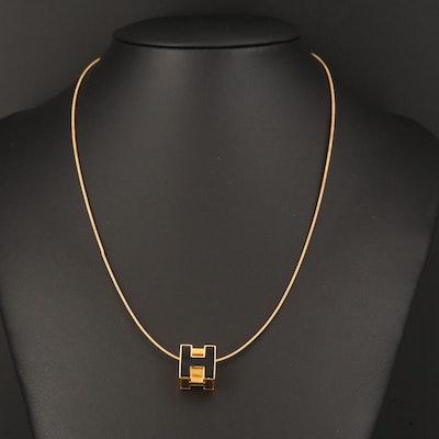 """Hermès Enamel """"H Cube"""" Pendant Necklace"""
