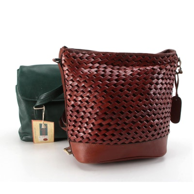 Etienne Aigner Woven Leather Shoulder Bag with Tignanello Green Leather Bag