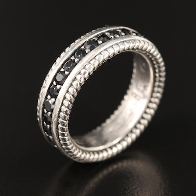 Scott Kay Sterling Black Sapphire Eternity Band with Ring Box