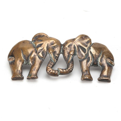"Denis Mathews Solid Bronze ""Kissing Elephants"" Belt Buckle"
