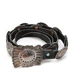 Wayne Etsitty Navajo Diné Sterling Silver Concho Black Leather Belt