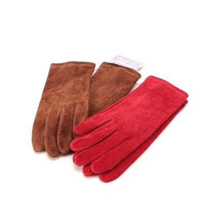 Grandoe Red Suede Gloves with Other Brown Suede Gloves