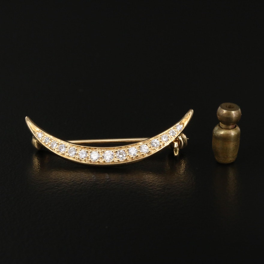 Vintage 18K Diamond Crescent Brooch