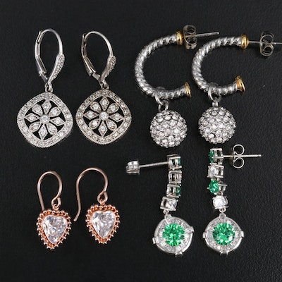 Sterling and Stainless Steel Earrings with Cubic Zirconia and Rhinestones